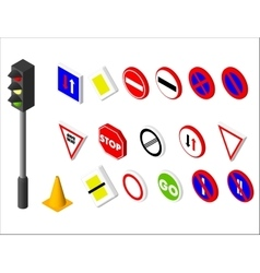 Isometric icons various road sign and traffic vector