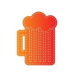 Glass of beer sign orange applique isolated vector