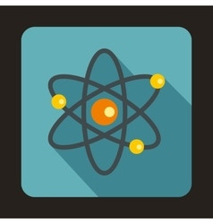 Atom with electrons icon flat style vector