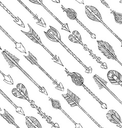 doodles seamless arrows pattern vector image