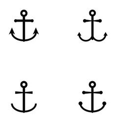 anchor icon set vector image vector image