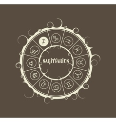 Astrology symbols in circle archer sign vector