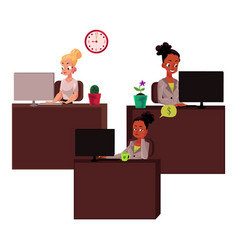 Black and caucasian business women in office vector