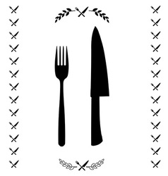 Black chef knife and fork crossed in vector image
