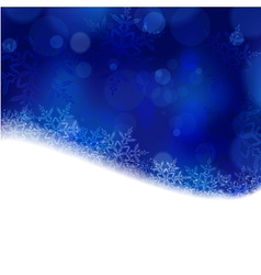 Blue christmas winter background with blurry ligh vector