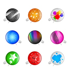 colorful grunge pins badges vector image