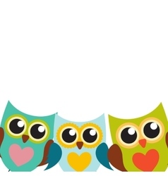 Cute Owl Pattern Background with Place for Your vector image