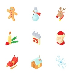 December holiday icons set cartoon style vector