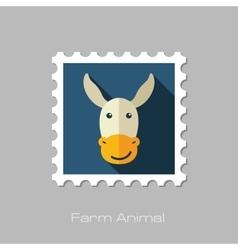 Donkey flat stamp animal head vector