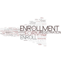 Enrollment word cloud concept vector
