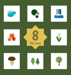 Flat icon bio set of forest canadian pond and vector