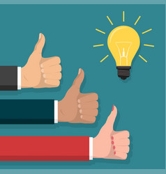 great idea thumb up symbol lightbulb flat style vector image vector image