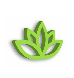 Green lotus flower 3d icon on white background vector
