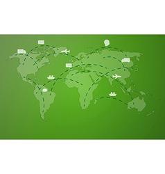 Green worldmap with symbols vector