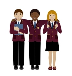 Group of school child in uniform flat vector image