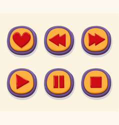 hand drawn 3d web buttons for the player like vector image vector image