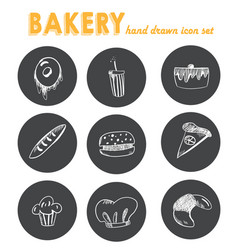 Hand drawn bakery icon set blackboard sticker vector