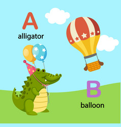 Isolated alphabet letter a-alligator b-balloon vector