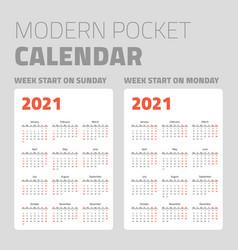 modern pocket calendar set 2021 vector image