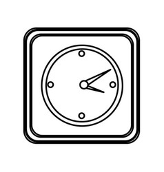 Monochrome contour of button with wall clock vector