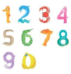 Numbers like sea inhabitants vector image vector image