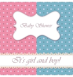 Polka dot baby shower girl and boy vintage vector
