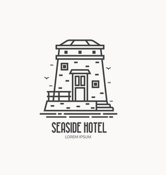 seaside hotel logotype vector image