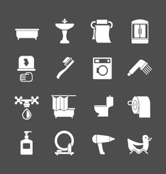 Set icons of bathroom and toilet vector image