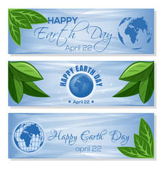 set light blue banners for earth day april 22 vector image
