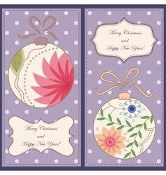 Set of christmas and new year cards vintage vector image vector image