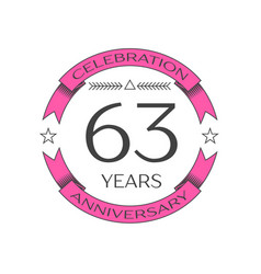 Sixty three years anniversary celebration logo vector