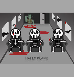 skeleton sit on chair in airplane room with vector image