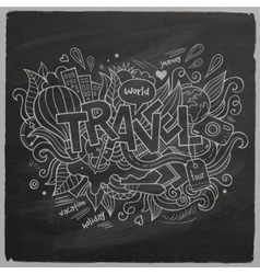 Travel summer hand lettering on chalkboard vector