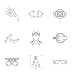 Treatment vision icons set outline style vector