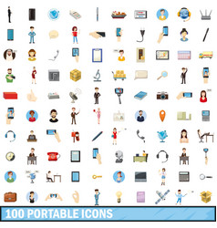 100 portable icons set cartoon style vector image