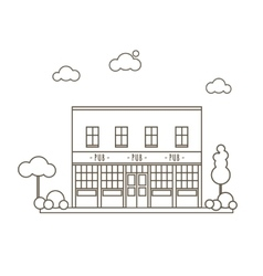 Old pub building vector