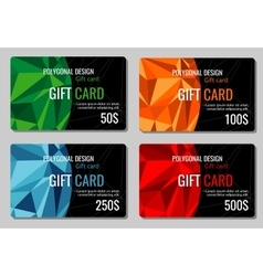 Gift discount cards set with multicolor vector