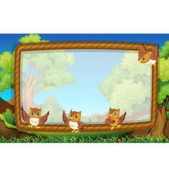 Frame template with owls in background vector image