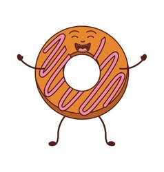 Animated donut with pink spiral and smiling vector