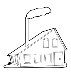 House with chimney icon outline style vector