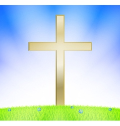 Cross on meadow vector