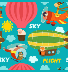 Seamless pattern air transports with animals vector