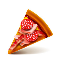 meat pizza slice isolated on white vector image