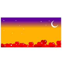 Bright moon in the night sky vector