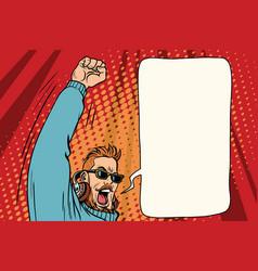 hipster dj emotional hands up vector image