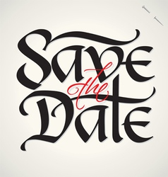 SAVE THE DATE hand lettering vector image