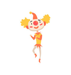 Funny clown in a red hat dancing colorful cartoon vector