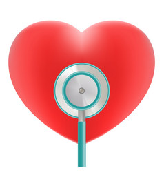 Red heart with stethoscope use for heart medical vector