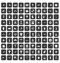 100 hobby icons set black vector