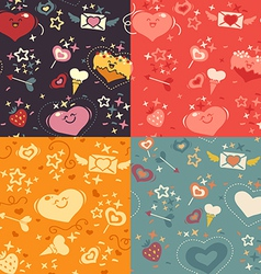 Four valentines hearts pattern vector